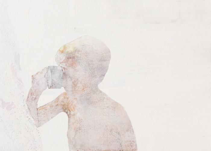 作品名:無効信号「boy」制作年:2016年サイズ:P30(65x91 cm)素材:綿布・岩絵具・水干価格:277,200円(税込)備考:額なし