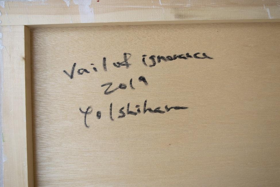 作品名:Veil of ignorance 2(サイン)制作年:2019年サイズ:S6(40×40 cm)素材:綿布・岩絵具・水干価格:72,000円備考:額なし