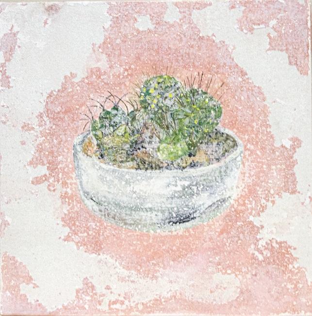 作品名:Note to self「Cactus」サイズ:SSM(22.7×22.7 cm)素材:綿布・岩絵具・水干・アクリル絵具・グロスポリマー価格:39,600円(税込)円備考:額なし
