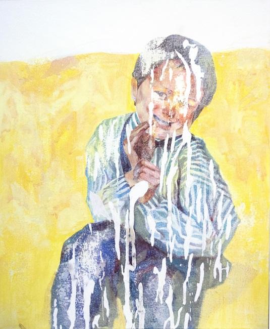石原 葉「whoシリーズ Hi, Mikie」2020年、F12(50×60 cm)、綿布・岩絵具・水干・アクリル絵具