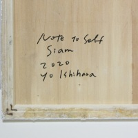 販売済❢作品名:Note to self「Siam」(サイン)制作年:2020年サイズ:S3(27×27 cm)素材:綿布・岩絵具・水干・アクリル絵具価格:59,400円(税込)備考:額なし