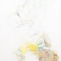 石原 葉「White noise girl」2017年、F30(72.7x91.9 cm)、綿布・岩絵具・水干・グロスポリマー