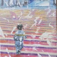 作品名:who「Towards the light」制作年:2020年サイズ:18x14 cm素材:綿布・岩絵具・水干・アクリル絵具価格:33,000円(税込)備考:額なし