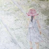 石原 葉「whoシリーズ Tomorrow」2020年、P40(73×103 cm)、綿布・岩絵具・水干・アクリル絵具
