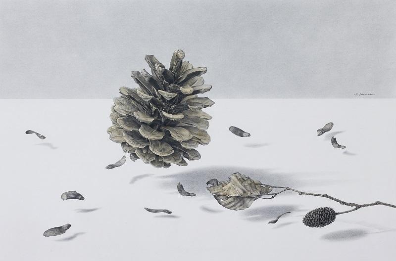 篠田教夫「空(くう)」h30×w50cm'鉛筆,水彩,ケント紙