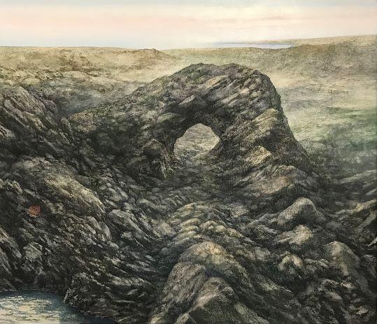 山嵜雷蔵「晨」2020年、F10号、岩絵具、水干絵具、ボローニャ石膏、パネル
