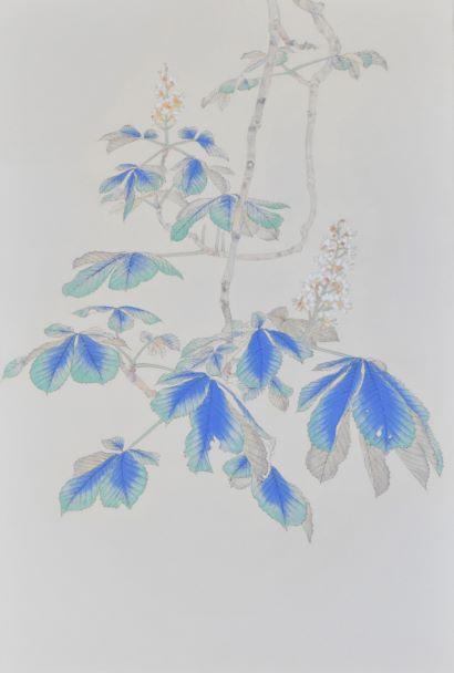 安原成美「マロニエの花」2021年、P4号、紙本彩色