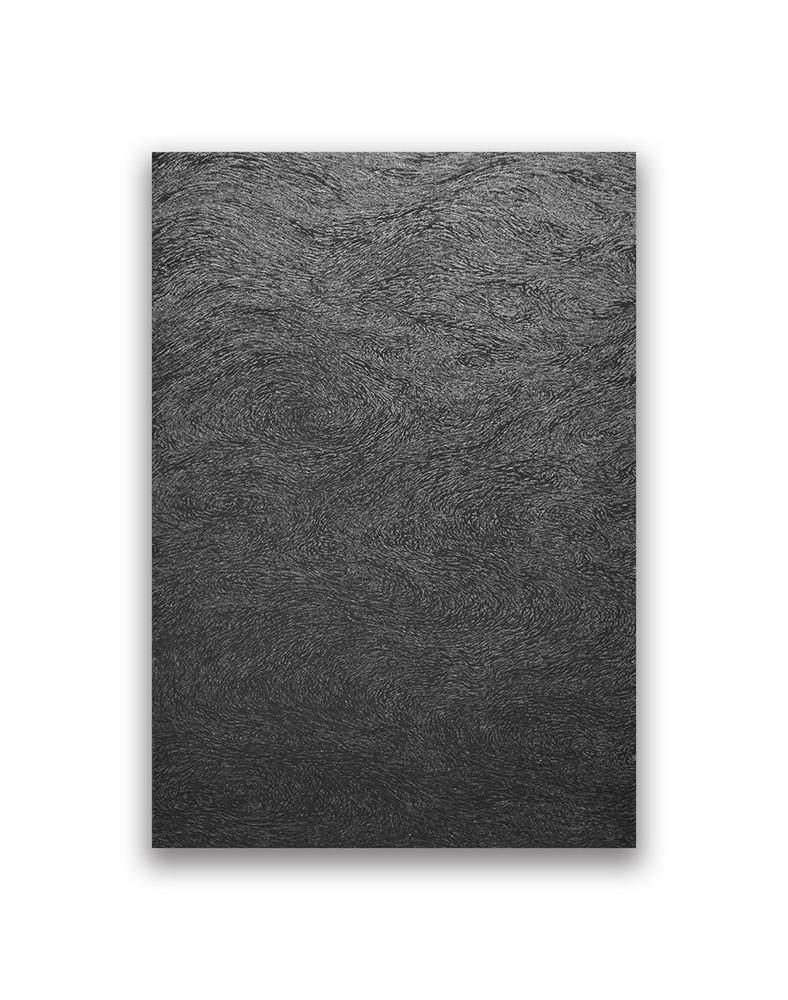 梶岡俊幸「内流2」2021年、W190㎜×H273㎜(3号P)、高知麻紙、墨、墨汁、鉛筆